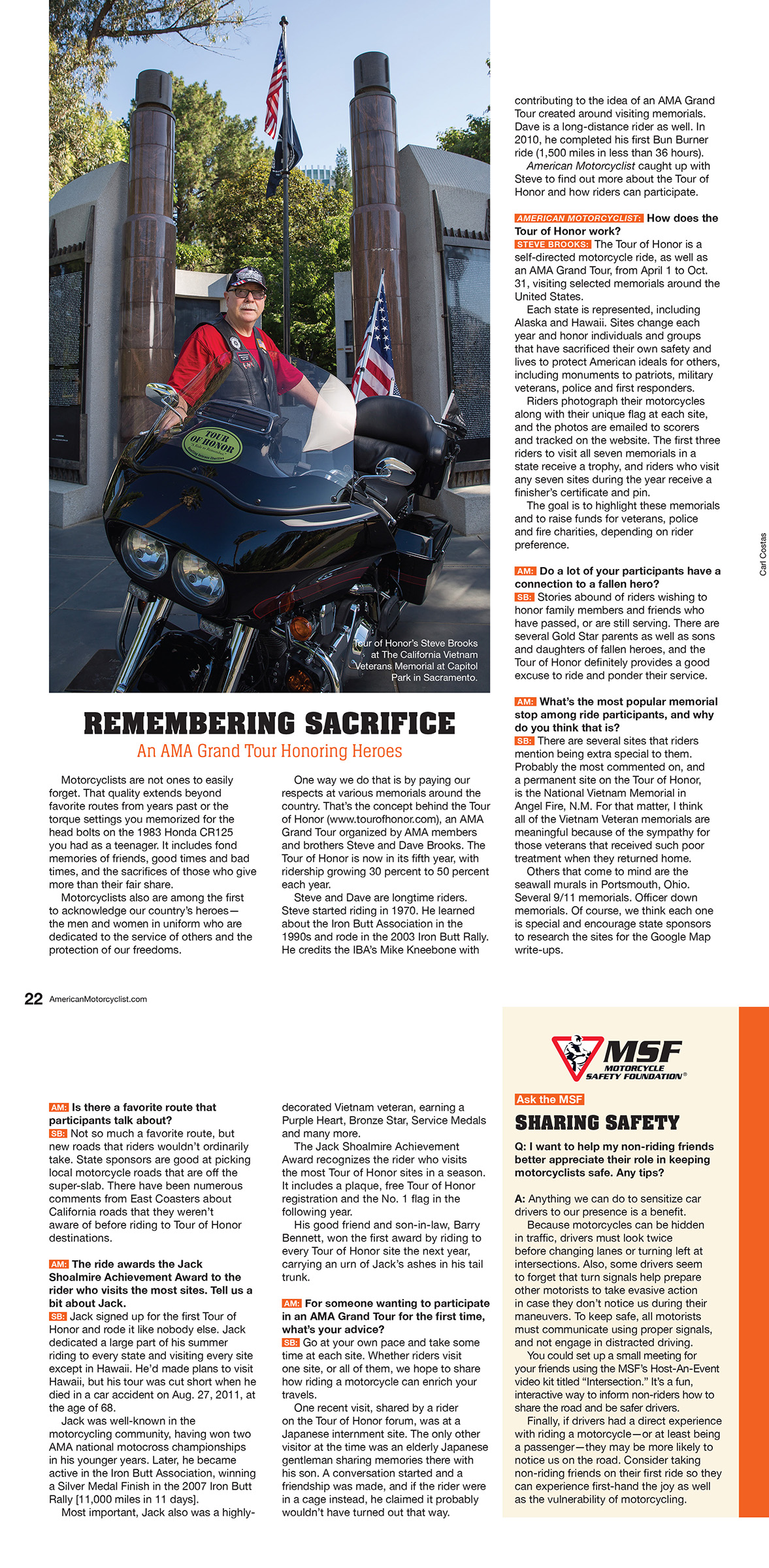 American Motorcyclist Magazine article